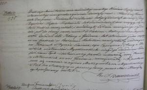 Akt zgonu Maksymiliana Myszkowskiego sporządzony w Kaliszu.