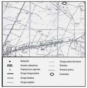 Rys. 3. Usytuowanie cmentarza w Lesie Szadkowskim na tle szlaków komunikacyjnych.
