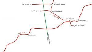 Cześć kolejki Cukrowni Leśmierz, czerwone linie to kolejka.