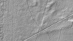 Widoczne do dziś linie okopów linii Stellung B1 w lasach niedaleko Smulska