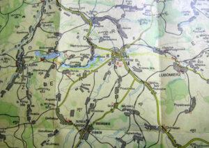 Mapa regionu pokazująca trzy ważne miejsca dla układanki o kryształkach. Gryfów Śl.- Lubomierz i Czochę. To w tych miejscach miano dokonać ich odkryć